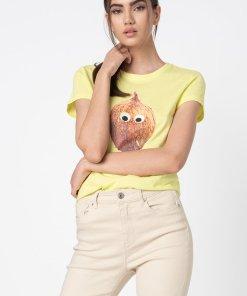 Tricou slim fit de bumbac organic cu imprimeu Catty Life 3028172