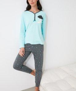 Pijama lunga cu fenta cu nasturi 3312554