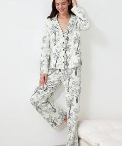 Pijama cu pantaloni lungi si imprimeu floral 3354002