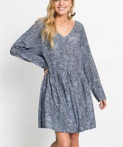 Rochie tip cămașă cu imprimeu leo - albastru