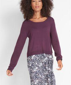 Rochie tricotată, aspect 2 în 1, mânecă lungă - mov