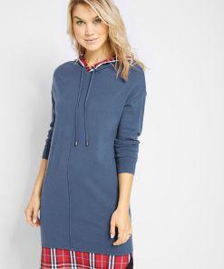 Rochie tricotată cu aspect 2 în 1 - albastru