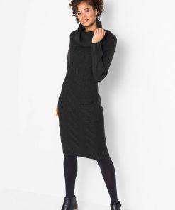 Rochie tricotată cu buzunare - negru