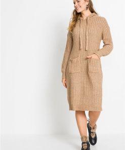 Rochie tricotată cu glugă - bej