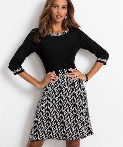 Rochie tricotată cu model - negru