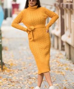 Rochie tricotata Diane, cu guler si maneci lungi, mustar (Selecteaza Marime: Universala)