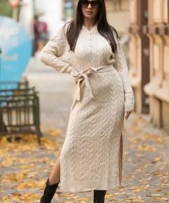Rochie tricotata Melina, cu gluga si cordon, crem (Selecteaza Marime: Universala)
