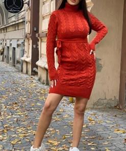 Rochie tricotata Sara, cu guler si maneci lungi, aramiu (Selecteaza Marime: Universala)
