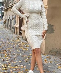 Rochie tricotata Sara, cu guler si maneci lungi, crem (Selecteaza Marime: Universala)