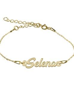 Bratara Argint Placata cu Aur 18 karate, Nume Selena, 15 + 4 cm