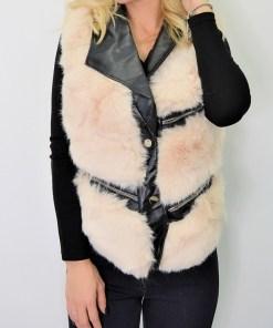Vesta din blana cu insertii de piele ecologica crem (Selecteaza Marime: XL)