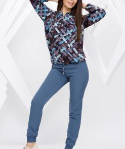 Compleu Alana gri albastrui cu bluza imprimata
