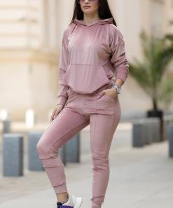 Trening dama roz din catifea cu fermoar vertical pe spate