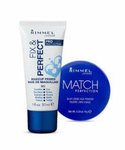 Set Rimmel (Pudra pulbere Rimmel London Match Perfection, Translucent, 10 g + Baza de machiaj Rimmel London Fix & Perfect Pro 5-in-1, 002 Transparent, 30 ml)