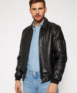 Pepe Jeans Geacă de piele Moore PM402308 Negru Regular Fit