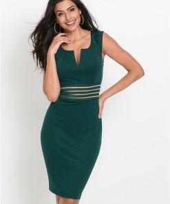 Rochie cu inserți translucide - verde