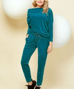 Trening turquoise din catifea cu maneca tip liliac