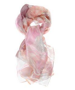 Esarfa roz din matase cu imprimeu floral