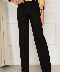 Pantaloni StarShinerS negri eleganti lunga evazati din stofa din material elastic