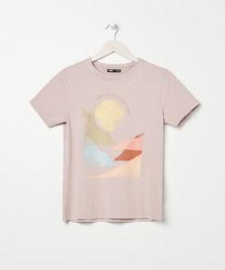 Sinsay - Tricou cu imprimeu și broderie - Bej