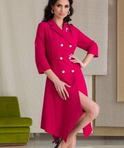 Rochie Camille rosu zmeura tip sacou cu baza in colturi