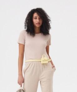 Sinsay - Tricou din tricot striat - Bej