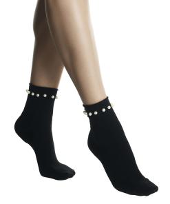 Sosete negre din bumbac elasticizat, cu perle, fara elastic pe glezna czperlita.ner 19552