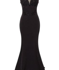 Rochie lunga de seara R 159 negru