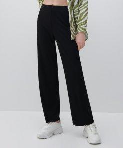Reserved - Pantaloni din jerseu de tricot striat - Negru