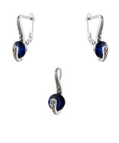 Set argint magic eye cu zirconii albastre