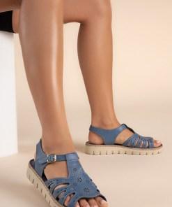 Sandale piele naturala Isadora Albastre