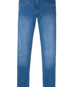 Blugi stretch, Slim Fit, din bumbac organic, Straight - albastru