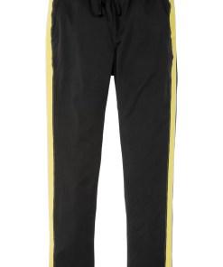 Pantaloni stretch Slim Fit cu dungi laterale, Straight - negru