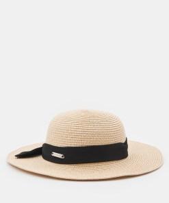 Sinsay - Pălărie cu panglică decorativă - Bej