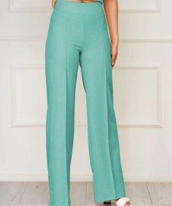 Pantaloni StarShinerS verzi eleganti lungi evazati din stofa din material elastic