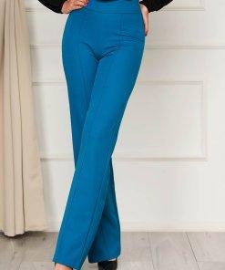 Pantaloni StarShinerS verde petrol eleganti lungi evazati din stofa din material elastic