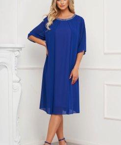 Rochie albastra din voal cu croi larg midi eleganta cu aplicatii cu pietre