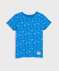 Sinsay - Tricou cu imprimeu - Albastru