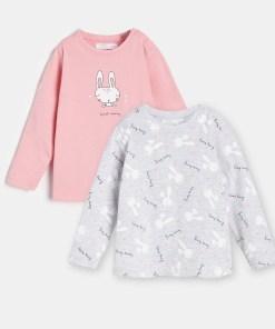 Sinsay - Set de 2 tricouri ECO AWARE, cu mânecă lungă - Gri deschis