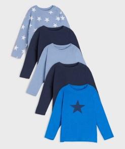 Sinsay - Set de 5 tricouri cu mânecă lungă - Albastru