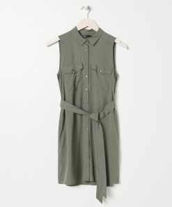 Sinsay - Rochie-cămașă cu cordon - Kaki
