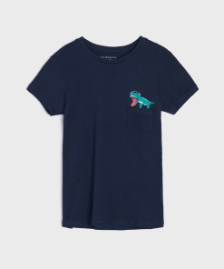 Sinsay - Tricou cu imprimeu - Bleumarin