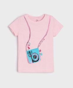 Sinsay - Tricou cu aplicație decorativă - Roz