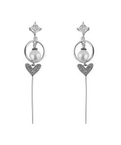 Cercei argint Ambra cu perla si zirconii