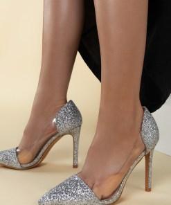 Pantofi stiletto Geraldine V2 Argintii