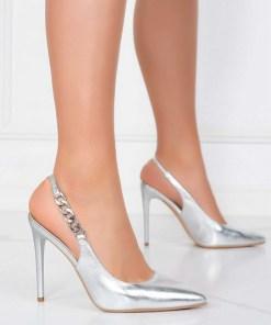 Pantofi stiletto Elemia Argintii