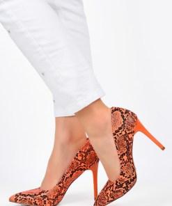 Pantofi stiletto Caren Portocalii