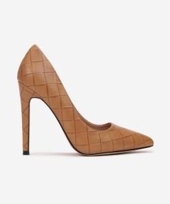 Pantofi stiletto Floreda Camel