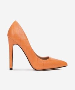 Pantofi stiletto Floreda Portocalii