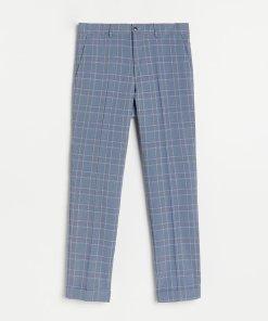 Reserved - Pantaloni clasici în carouri - Albastru